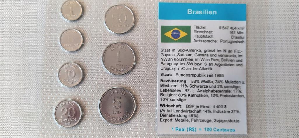 ZESTAW 7 MONET-w BLISTRZE---BRAZYLIA.
