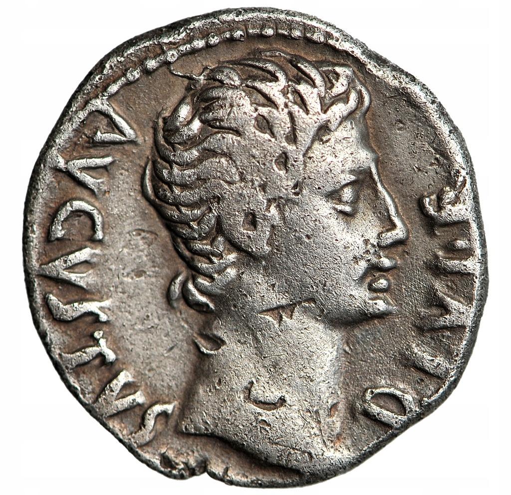 OKTAWIAN AUGUST denar APOLLO, 15-13 BC, ŁADNY