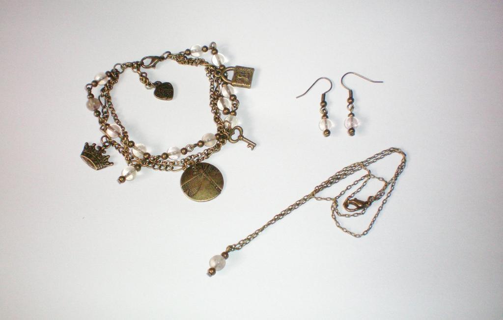 Komplet biżuterii vintage z fluorytem handmade