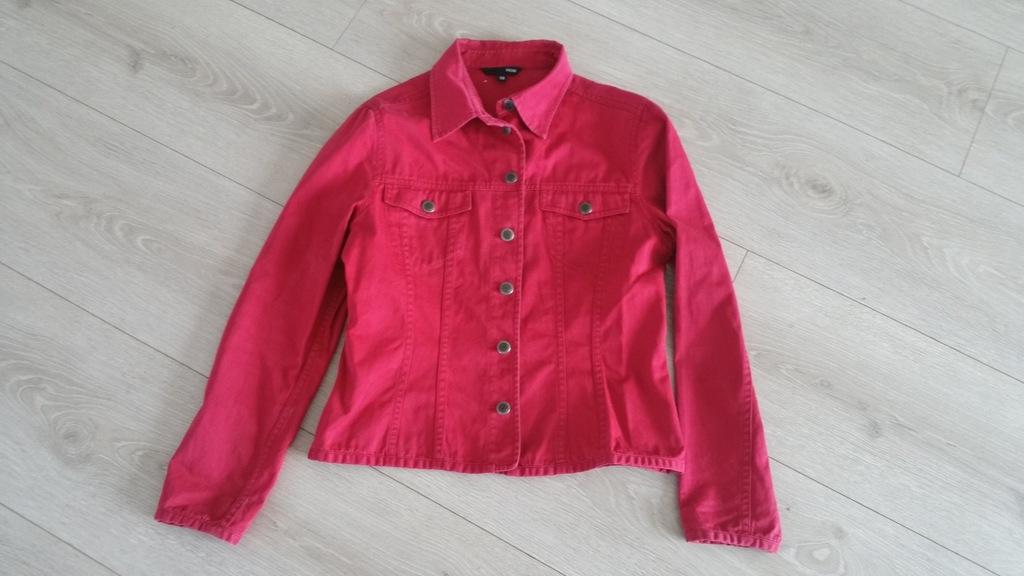 czerwona kurtka jeansowa hm