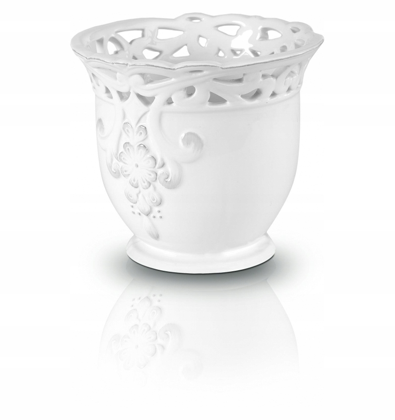 Osłonka ceramiczna doniczka biała ażurowa 12,5 x11