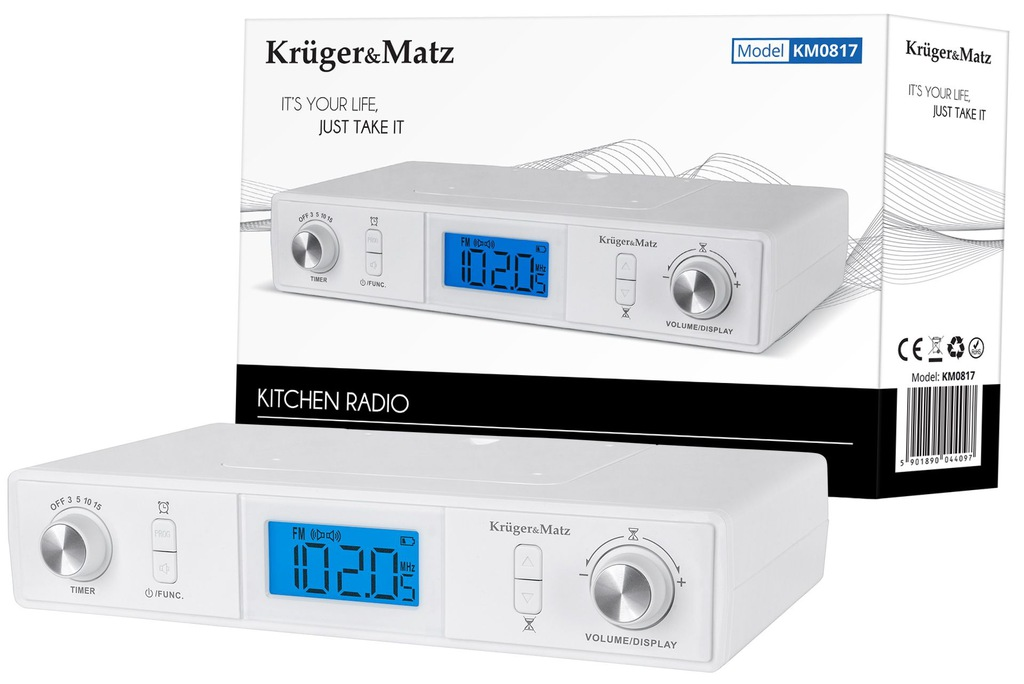 Radio Kuchenne FM Bluetooth Podwieszane LCD Zegar