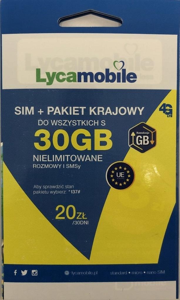 Lycamobile - karta SIM 20 zł na koncie do wszystki