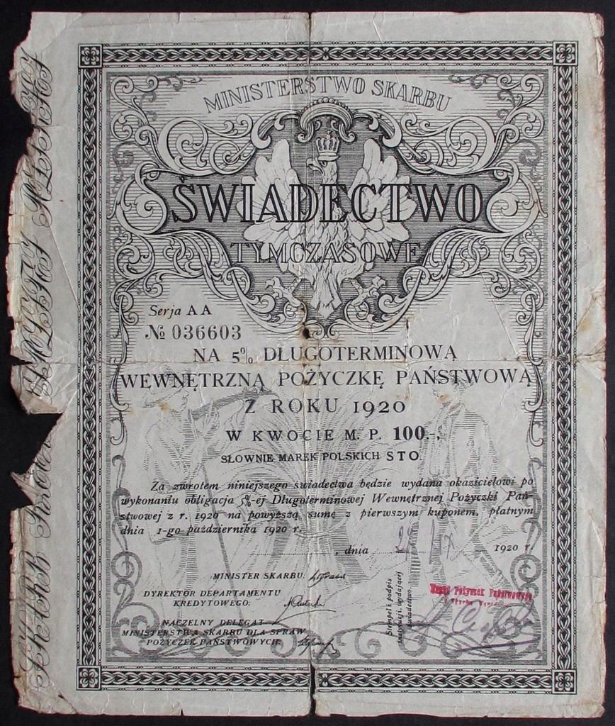 Świadectwo tymczasowe 1920r