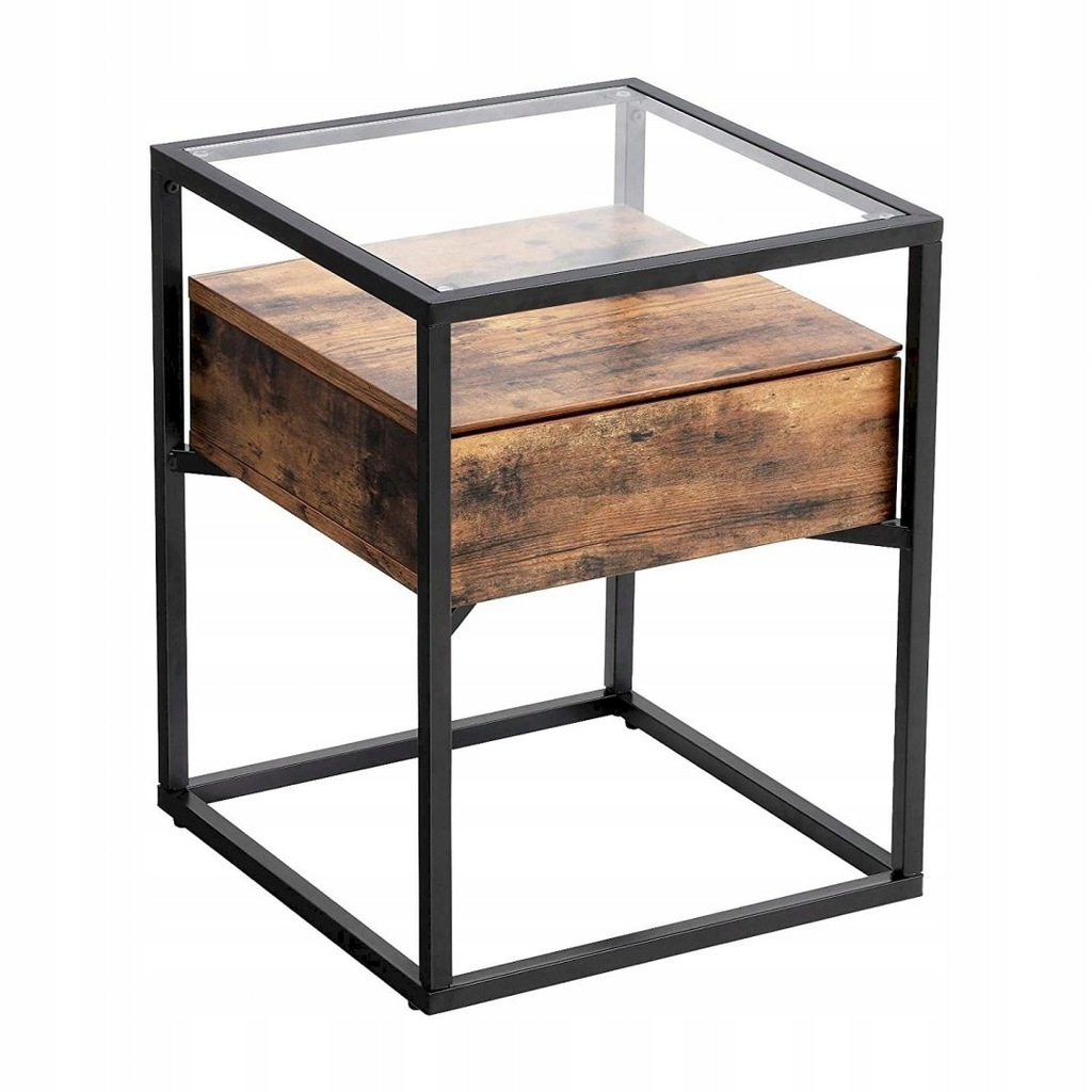Industrial Side Table, Tempered Glass End Table wi