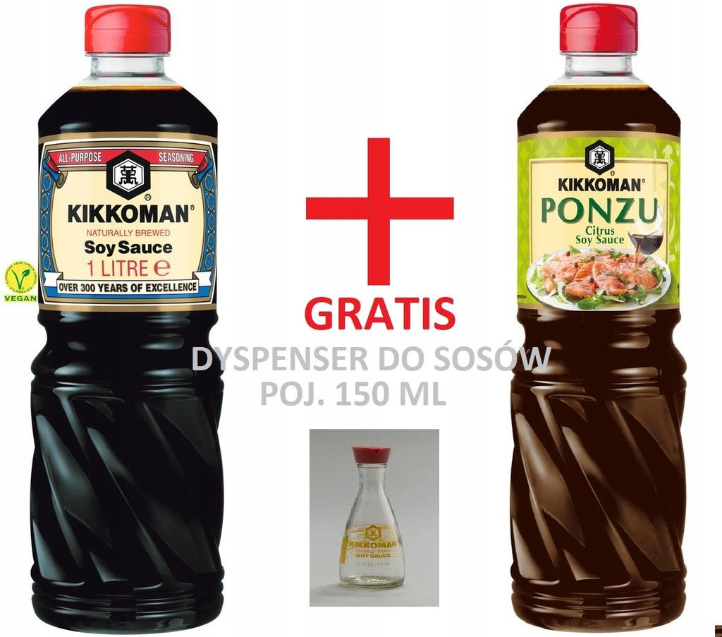 Sos sojowy 1l Kikkoman + PONZU 1l + gratis