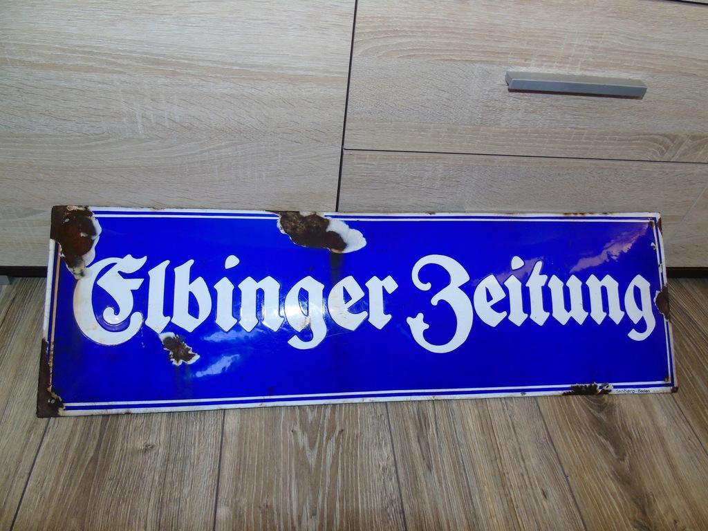 Szyld Prusy Wschodnie Elbląg Elbinger Zeitung.