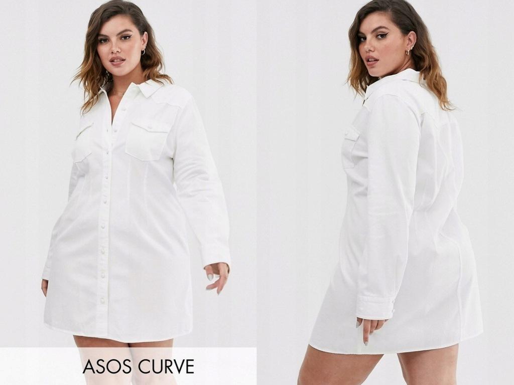 DESIGN Curve Biala Heansowa Sukienka Mini 6XL/52