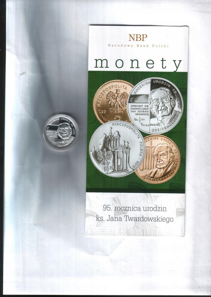 Moneta 10 zł -2010- 95 r. ks.Twardowskiego+fol.NBP