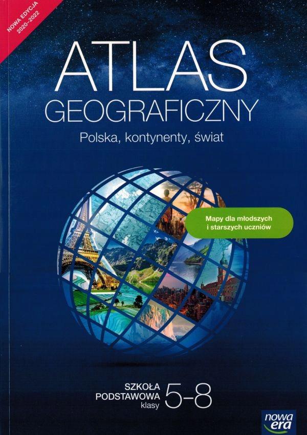 Atlas geograficzny Polska, kontynenty, świat Praca