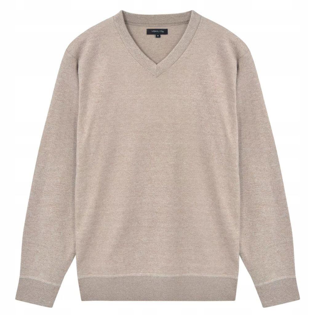 Sweter Męski w Serek, Beżowy, Rozmiar XL