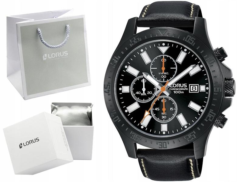 LORUS zegarek męski czarny RM303EX9 chronograf