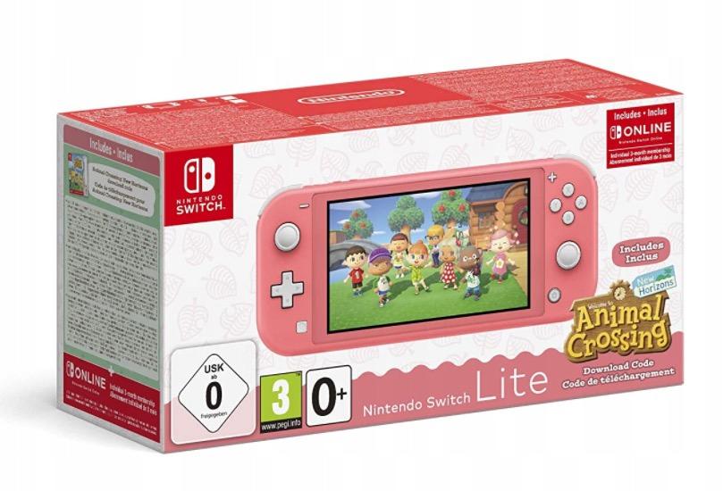 Switch Lite Różowa Animal Crossing + 3msc Online