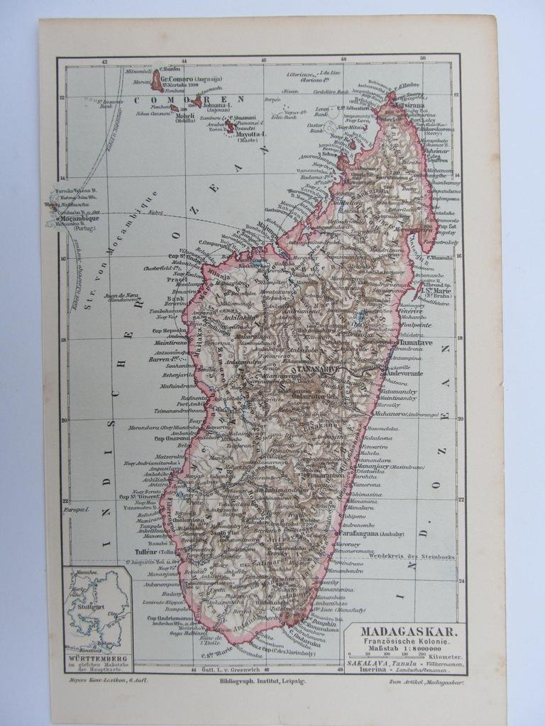 AFRYKA WYSPA MADAGASKAR mapa 1909 r.