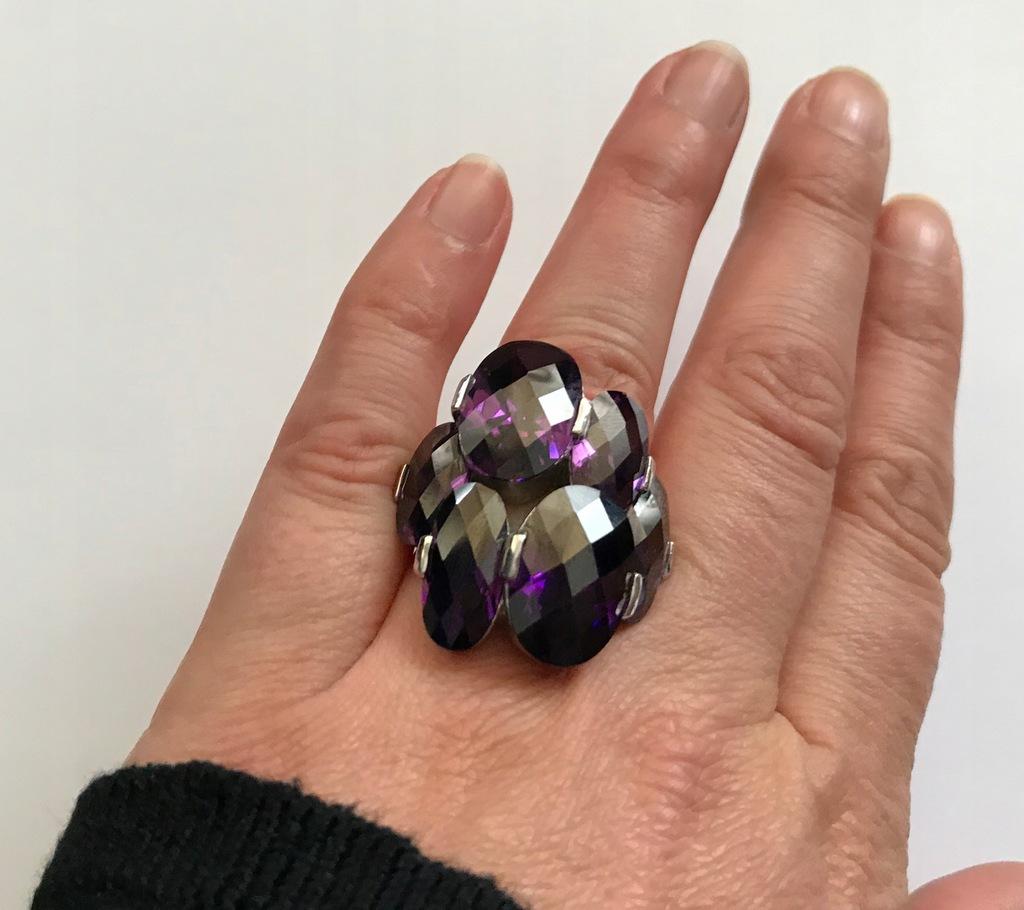 APART pierścionek srebrny fioletowy roz. 13-14