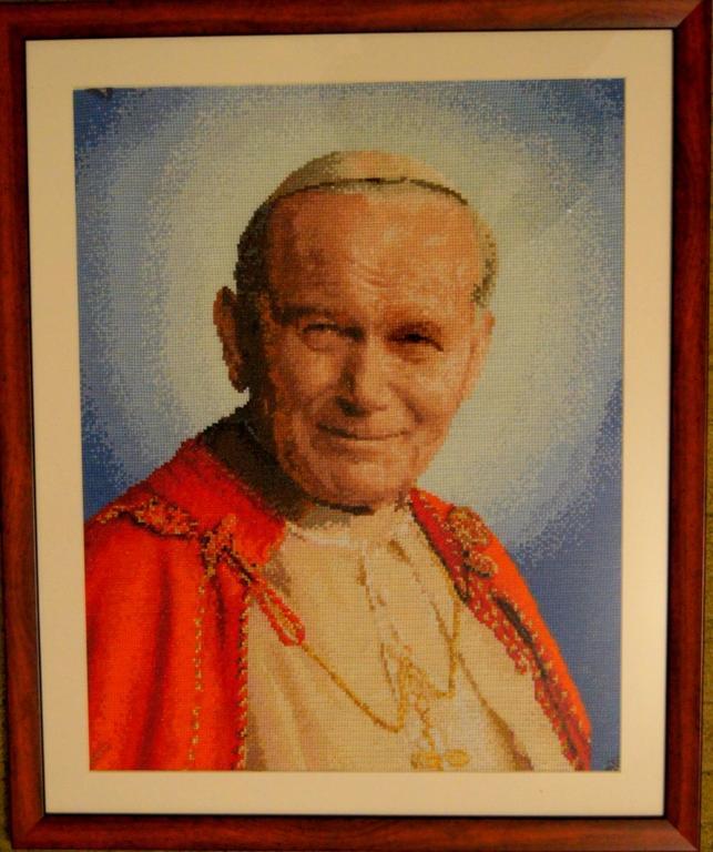 Obraz Jana Pawła II haft krzyżowy