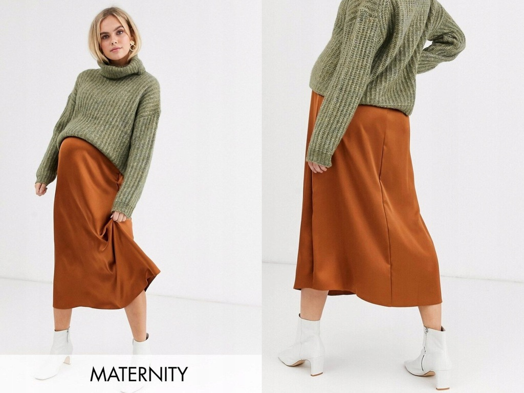 DESIGN Maternity Satynowa spódnica midi L/40