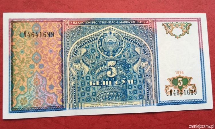 Uzbekistan - 5 sum dla WOŚP - stan bankowy UNC