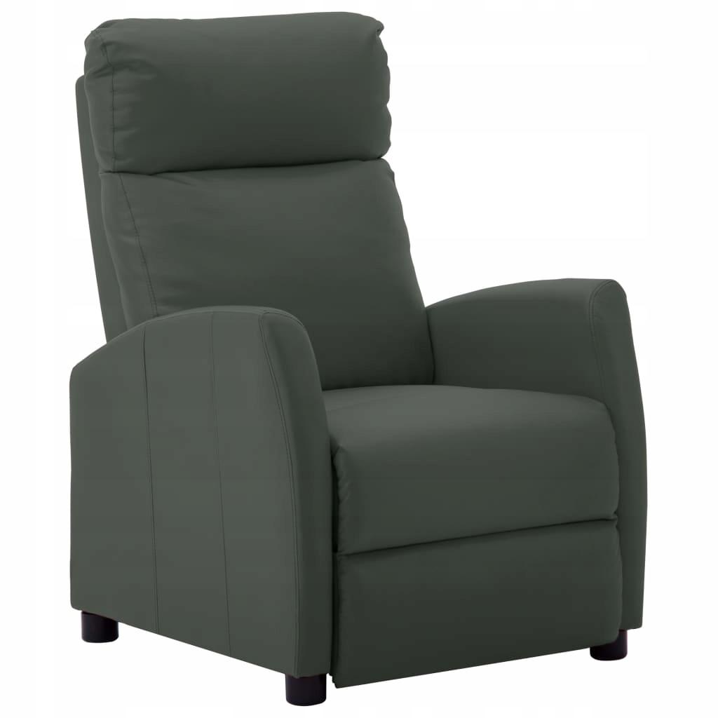 Fotel rozkładany, szary, sztuczna skóra