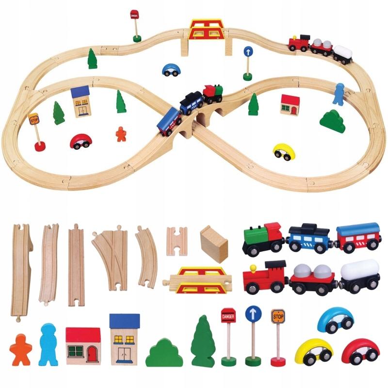 Drewniana Ogromna Stacja kolejowa 49 elementów Poc