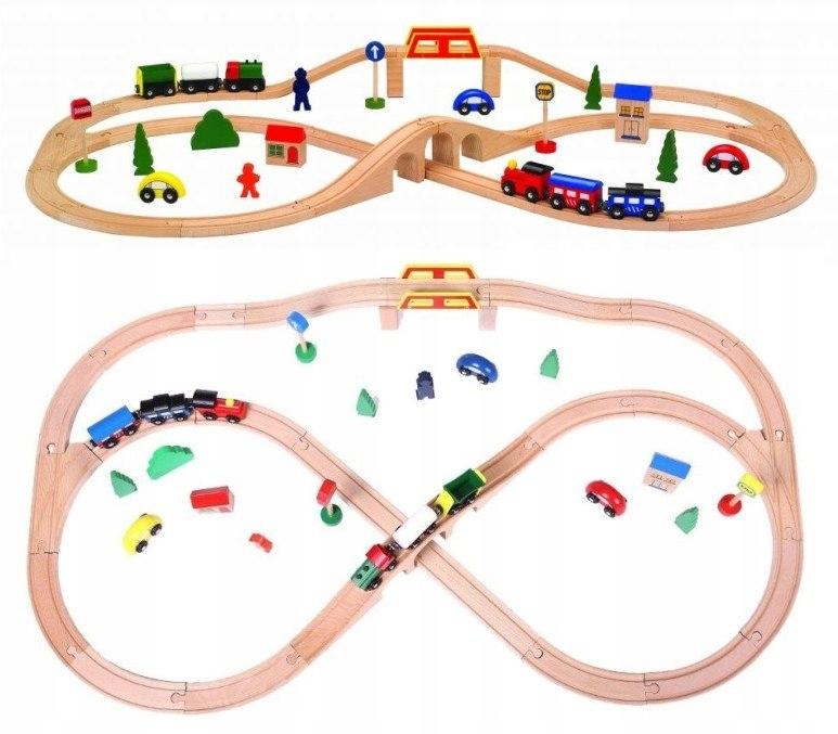 KOLEJKA DREWNIANA 49 elementów ZESTAW pociąg