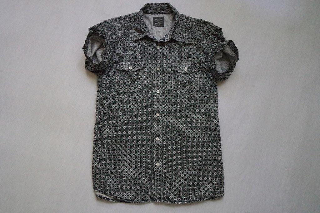 L.O.G.G. H&M koszula czarna biała nadruk__L/XL