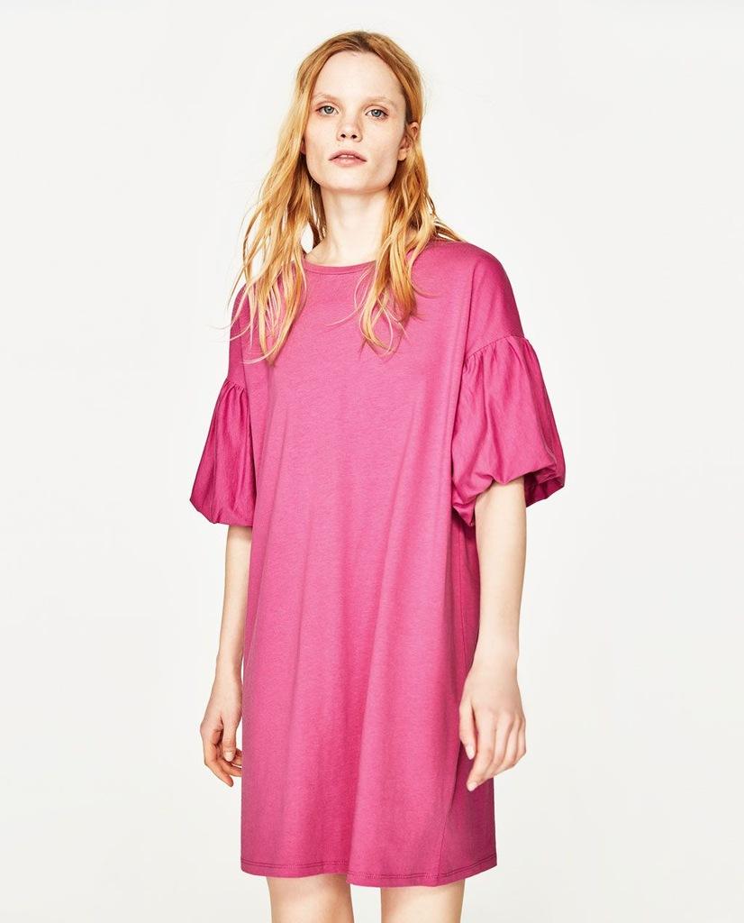 ZARA super różowa sukienka bufiasty rękaw NOWA S