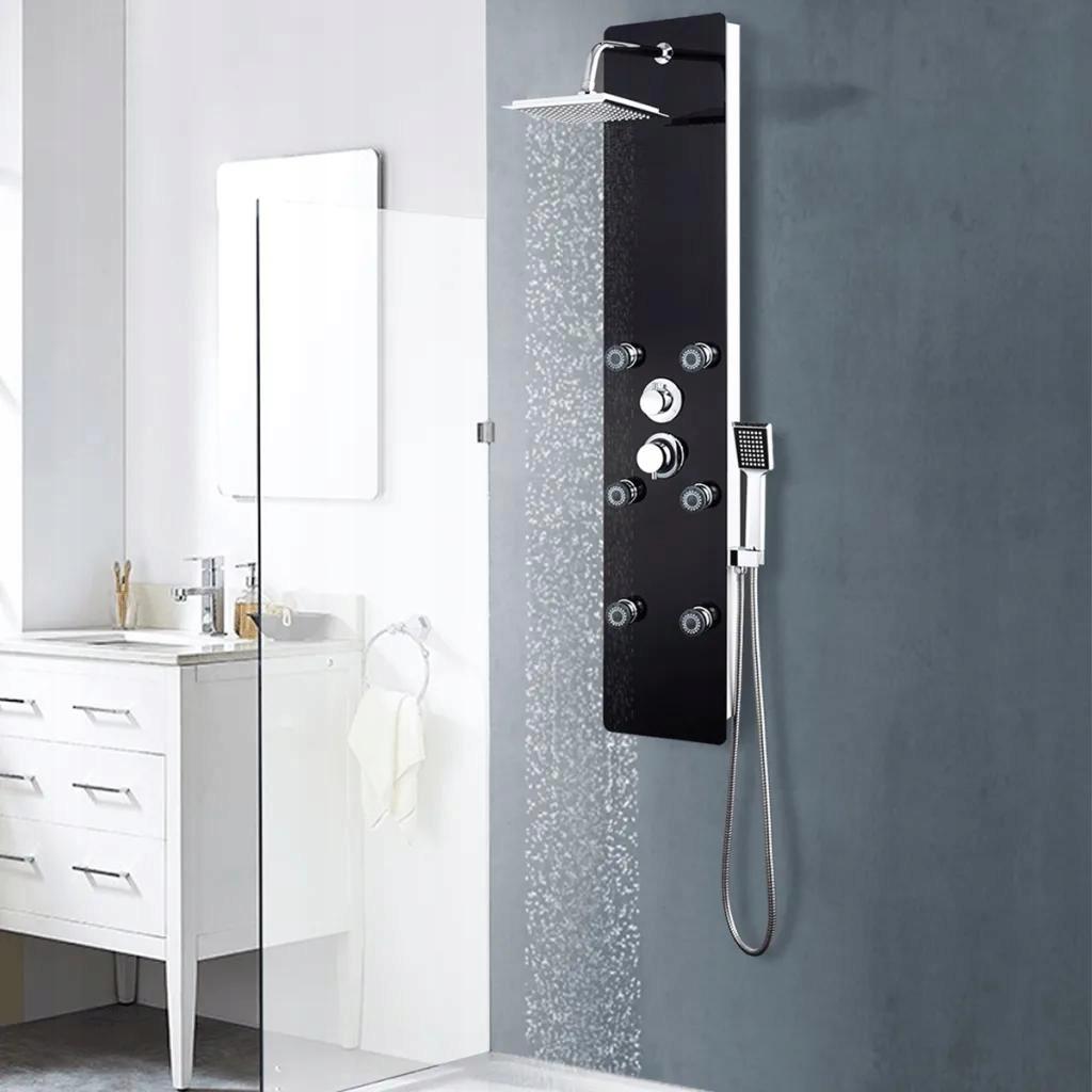 Panel Prysznicowy Szkło Czarny
