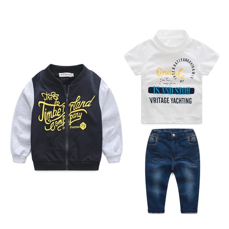 Zestaw 3 Części T-shirt + Bluza + Spodnie Jeans 98