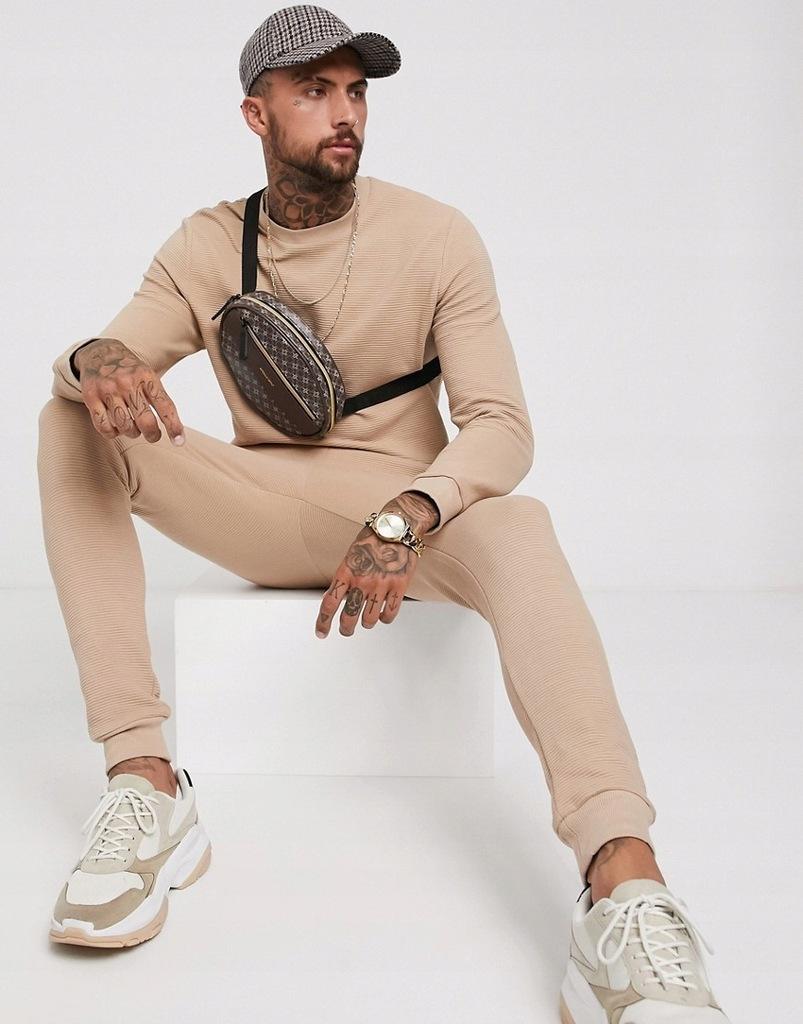 Beżowy męski komplet dresowy spodnie bluza XS