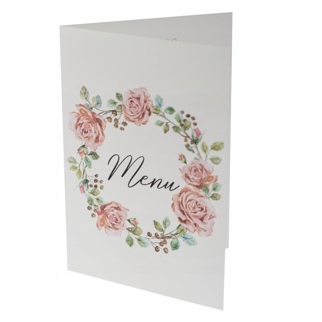Menu weselne ślubne karta dań botaniczne róże