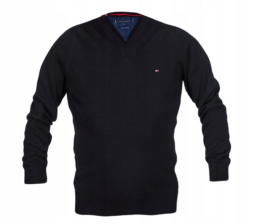 Sweter Tommy Hilfiger TH męski czarny flaga L