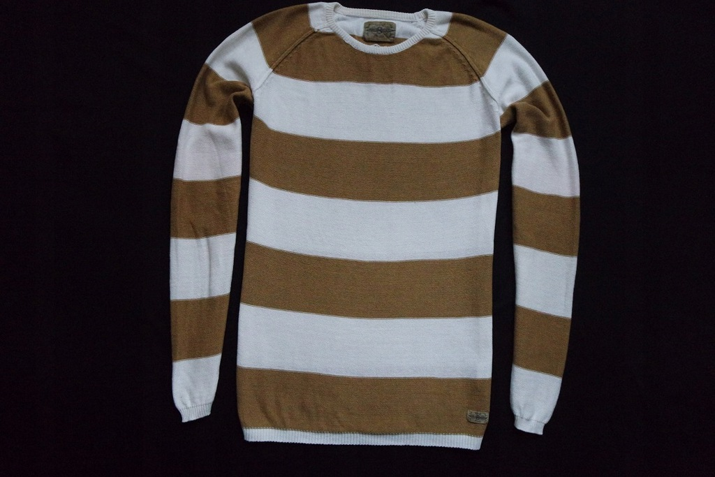 VAILENT sweter sweterek biały brąz paski logo__S/M