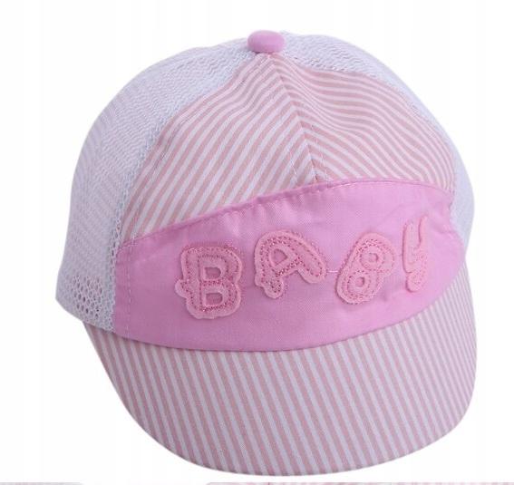 Miękka czapka daszek 42-48cm 6-24msc różowa siatka