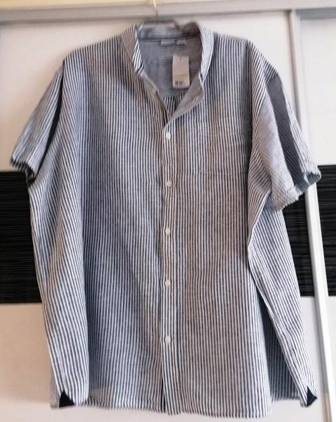 ( LIVERGY) szaro- białe paski len+ cotton )- 4 XL