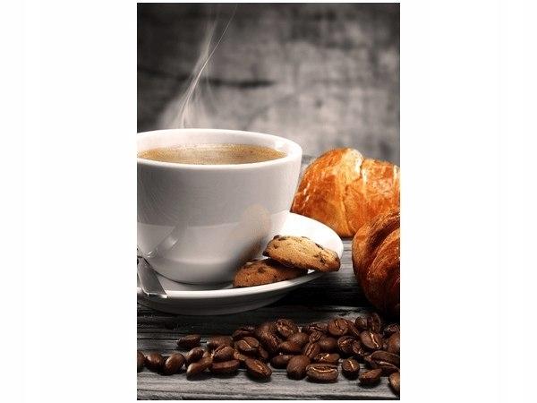40x60cm Obraz druk Gorąca kawa i croissant dekorac