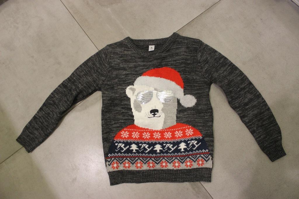 TU sweterek świąteczny cekiny 8lat
