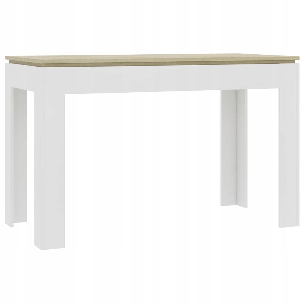 Stół, kolor biały i dąb sonoma, 120x60x76 cm, płyt