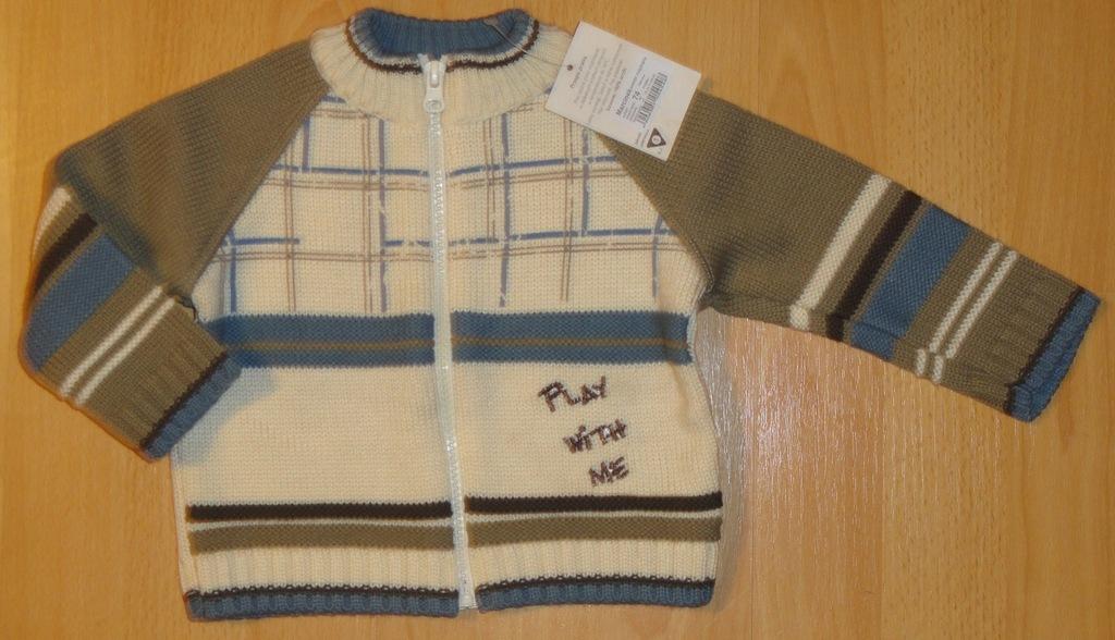 bas06 Sweterek chłopięcy 6-12mieś 74 cm wyprzedaz