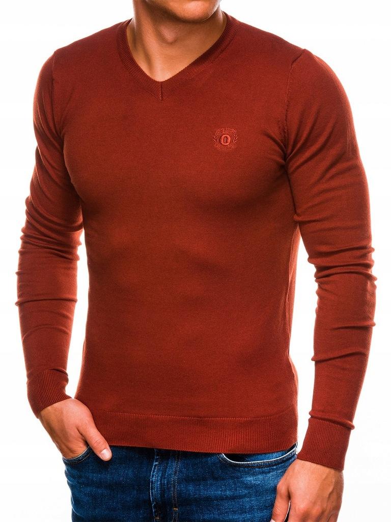 OMBRE Klasyczny sweter męski E74 ceglasty XL