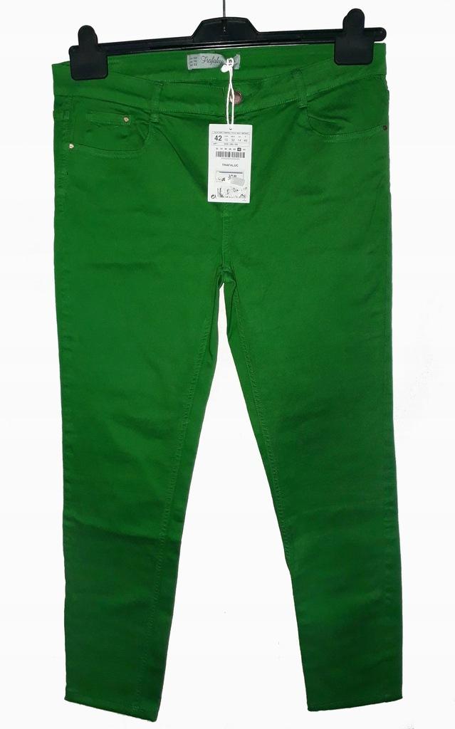 Zara 42 jeansy dżinsy zielone trawiaste rurki NOWE