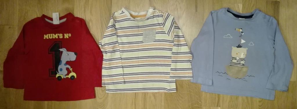 T-shirt długi rękaw C&A 80 3 szt.