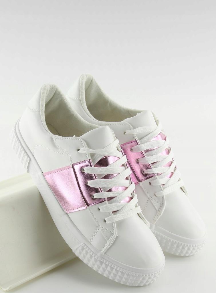 Trampki damskie biało różowe Okrągły modne 39