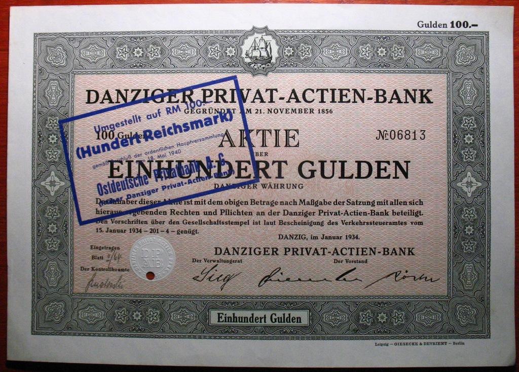 Gdańsk 1000 Guldenów / RMk 1934