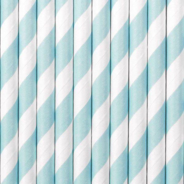 Słomki papierowe, jasnoniebieski, 19,5cm, 10 szt.