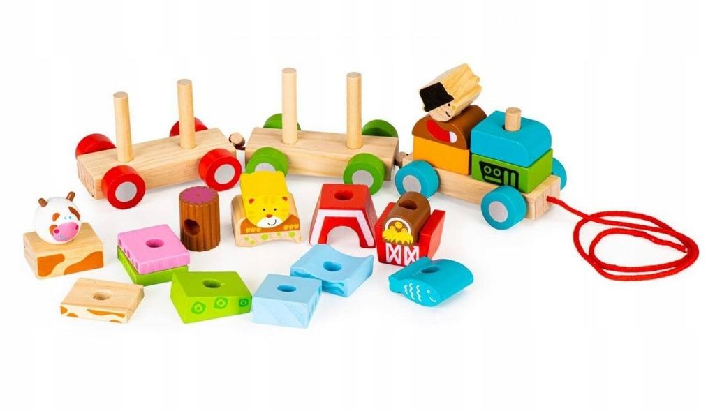 Drewniana zabawka kolejka pociąg klocki sznureczek