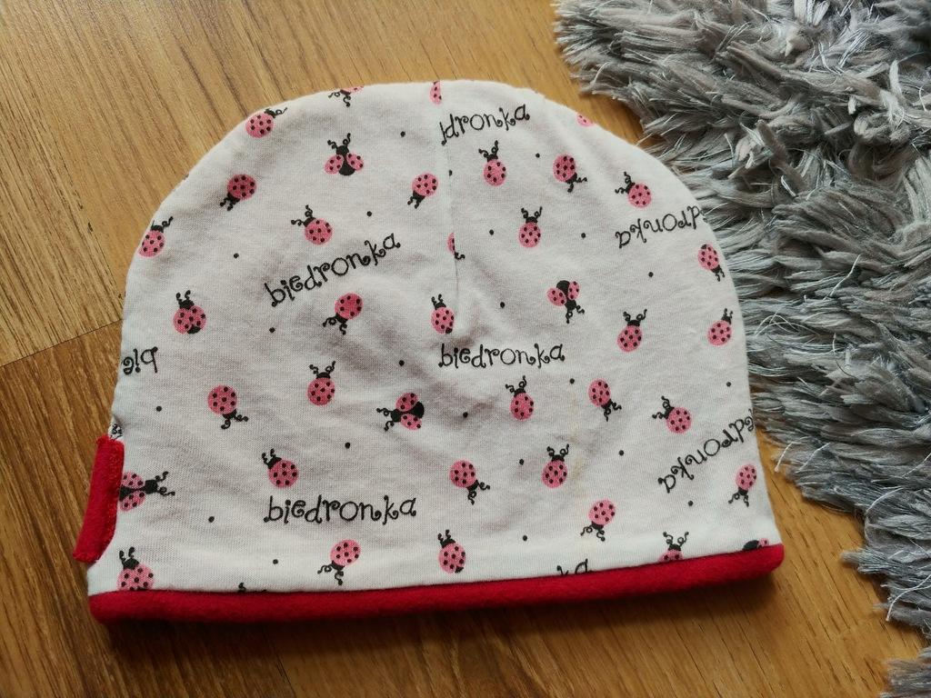 Polarkowa biedronki czapka malina roz.46cm 1-2lat