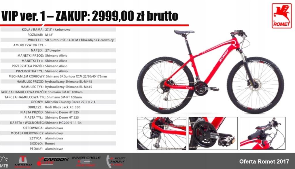 Rower MTB ROMET VIP 27,5 czerwony 18 PROMOCJA!!