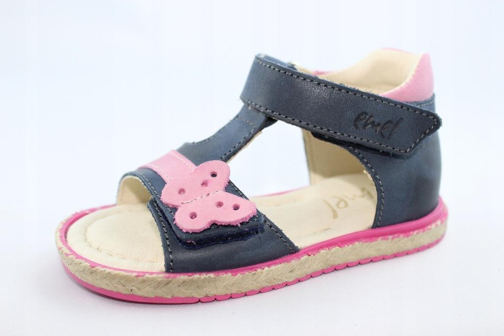 EMEL E2637-12 sandałki,sandały skóra granat r 22