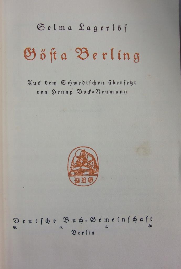 Selma Lagerlof - Gsta Berling